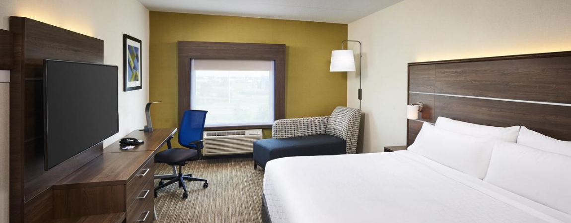 Holiday Inn Express guest room.