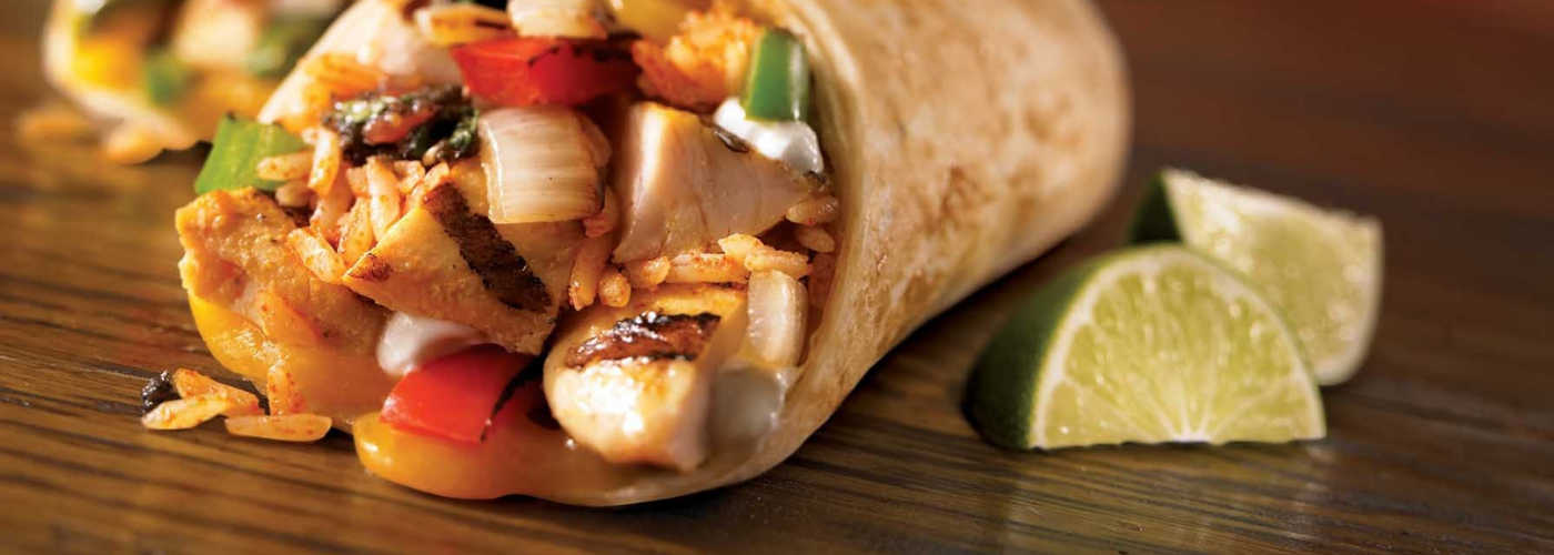 Close up image of the fillings in a burrito.