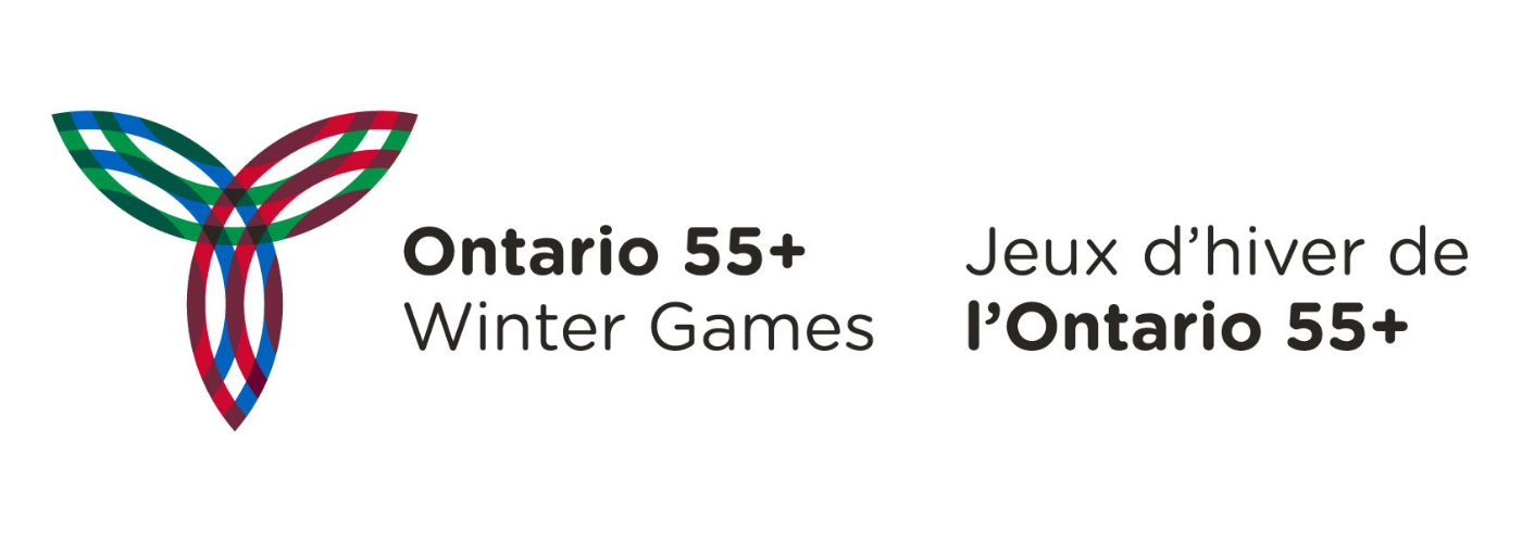 Ontario 55+ Winter Games logo with red, blue and green trillium icon.