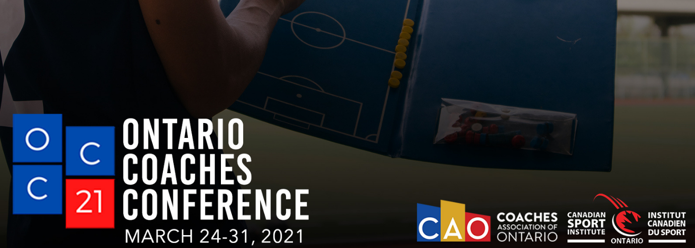 Ontario Coaches Conference 2021 logo and dates overtop of an image of a soccer coach.