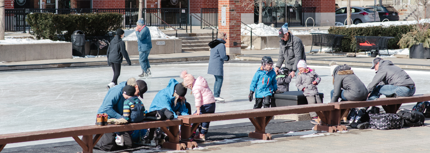 Families skate at Harmony Square in Brantford.